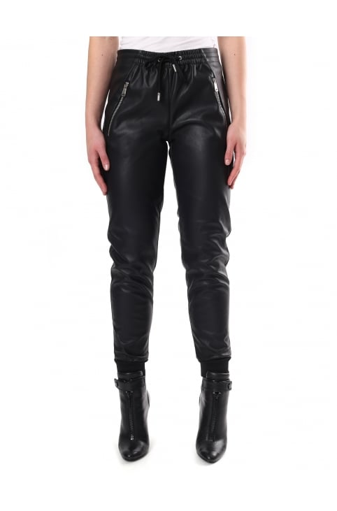 Women's Faux Leather Joggers