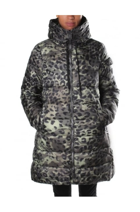 Women's High Neck Animal Print Down Jacket Military Green