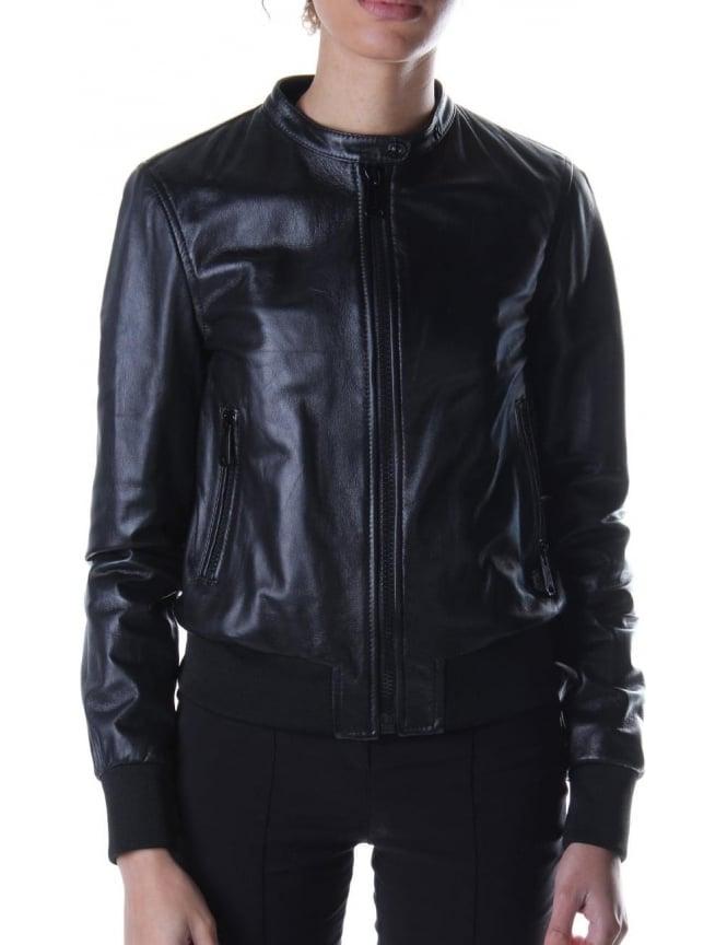 ba1016ba9db3 Replay Zip Through Women s Leather Jacket Black