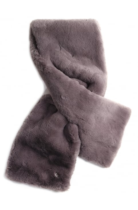 Women's Stip Faux Fur Scarf
