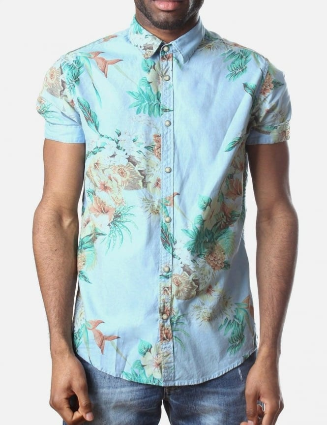 Floral Print Men S Shirt Blue