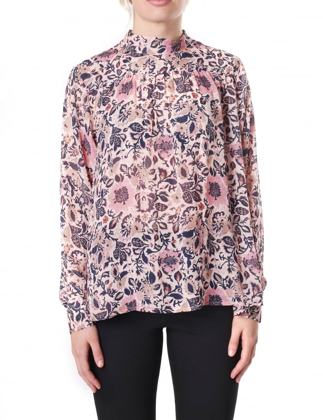 Second Female Laisa Women's Floral Printed Sheer Blouse