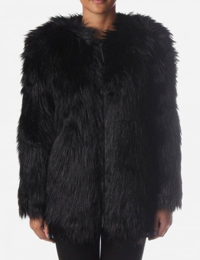dcdb8e96e2 Selected Femme Sierra Women's Fur Jacket Black