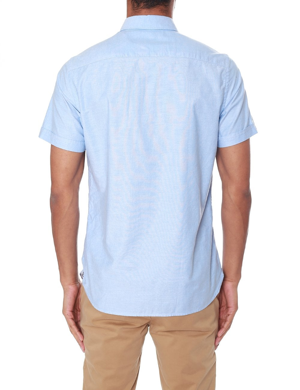d4402528 Tommy Hilfiger Men's Slim Organic Oxford Short Sleeve Shirt Shirt Blue