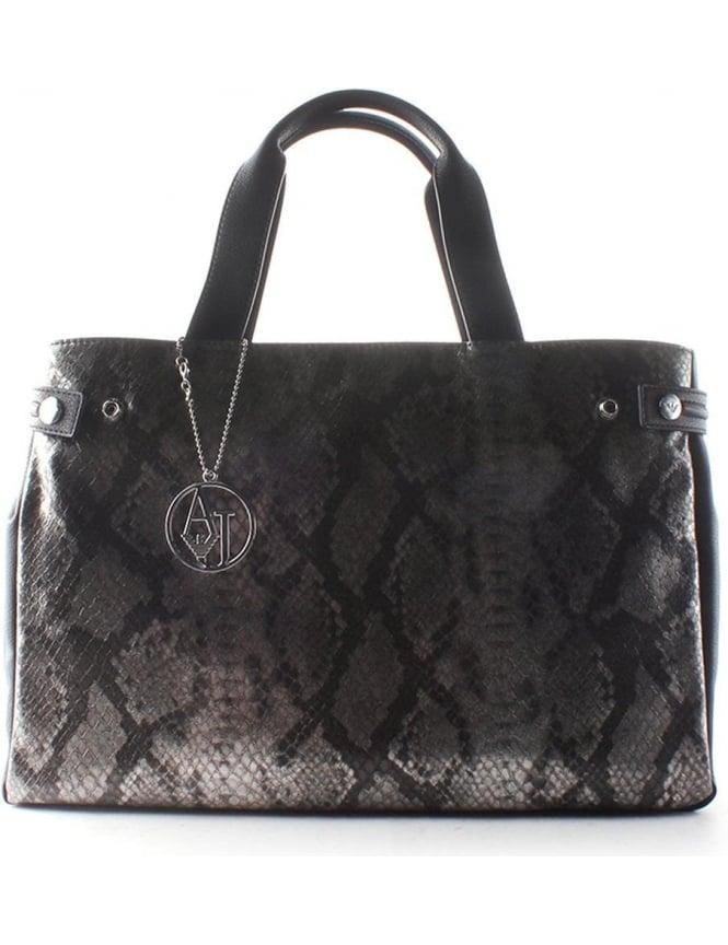86186c365d Armani Jeans Snakeskin Print Women's Shopper Bag Black