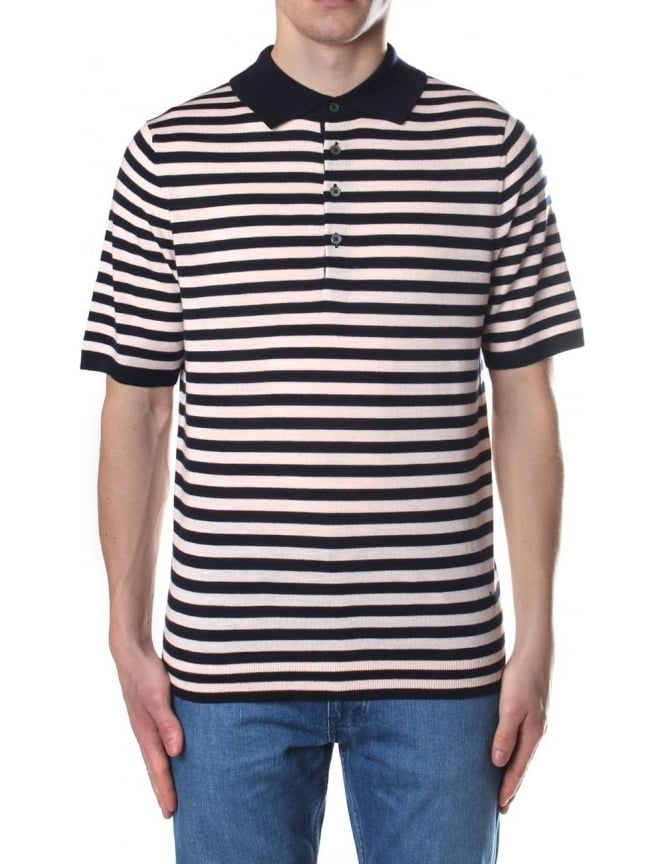 new design large discount new high Paul Smith Stripe Knitted Men's Short Sleeve Polo Top