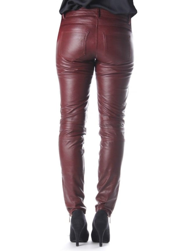 SuperTrash Peaches Women s Leather Trousers Grape a3a555fd3