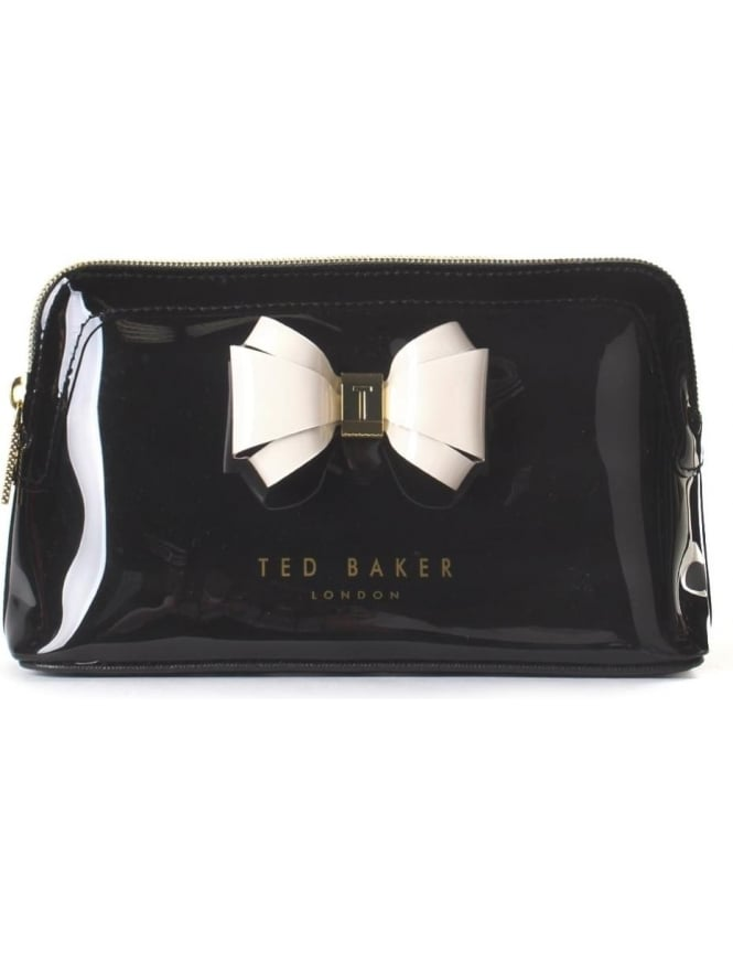 Ted Baker Aimee Curved Bow Women S Make Up Bag Black