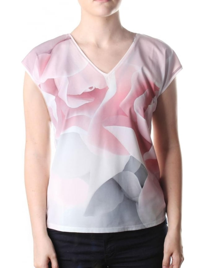 Ted Baker Artie Porcelain Rose Women's V Neck Tee