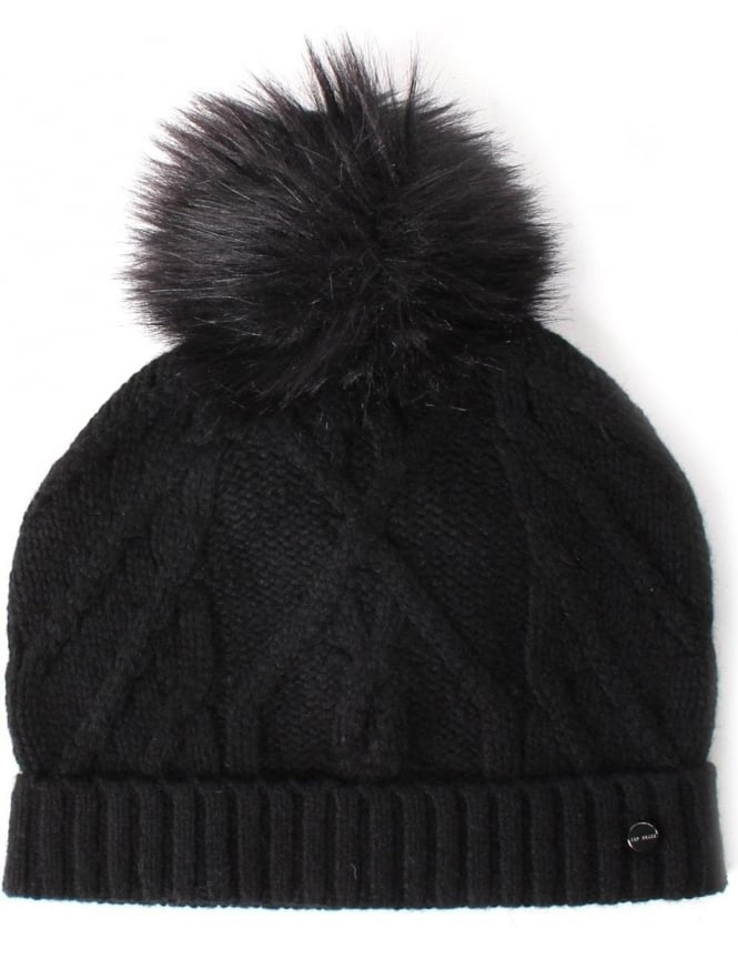 Ted Baker Atexia Women s Cable Knitted Hat With Pom Pom Black 99ab019e448