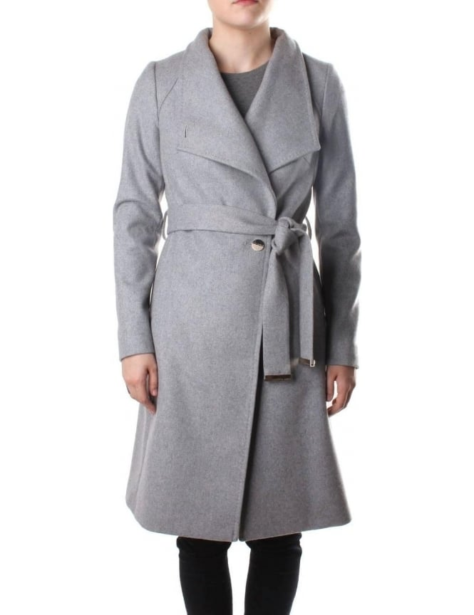 d5ba1beeeae990 Ted Baker Aurore Wrap Around Women s Collared Coat Grey Marl