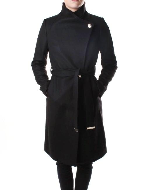 e6e0d3b6b97 Ted Baker Contrast Lapel Women's Long Wrap Coat Jet Black