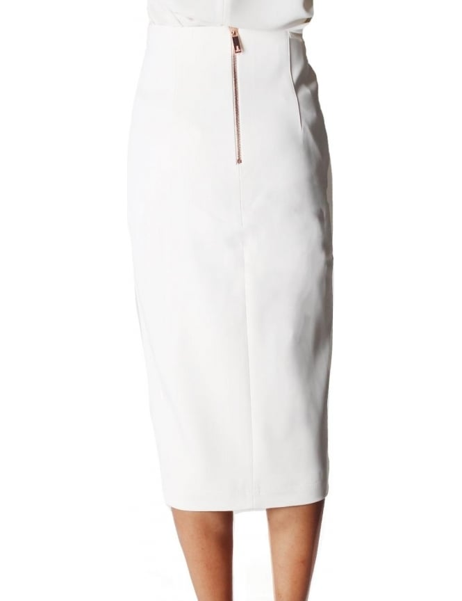 Ted Baker Gemia High Waisted Women's Split Pencil Skirt Cream