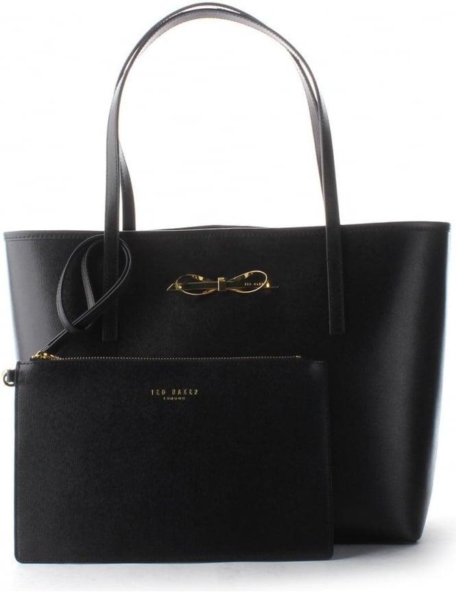 c4c6e0a874 Ted Baker Isabow Women's Xhatch Bow Shopper Bag Black
