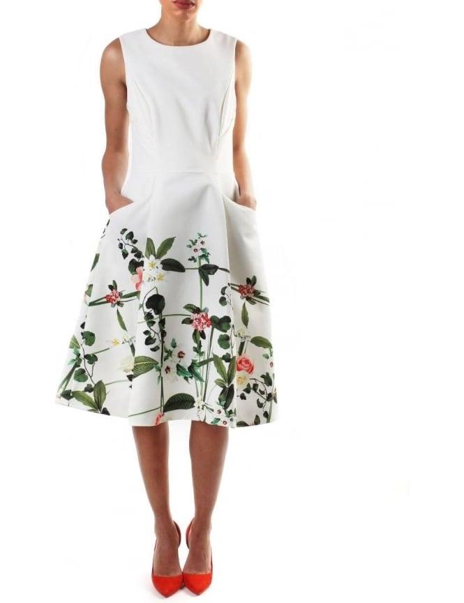Ted Baker Karolie Women\'s Secret Trellis Print Dress Cream