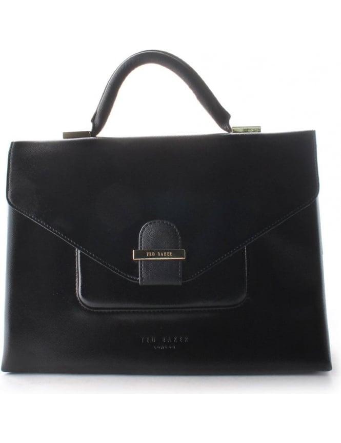 56e37ef8df4 Ted Baker Lavena Patent Crosshatch Women's Pocket Tote Bag Black