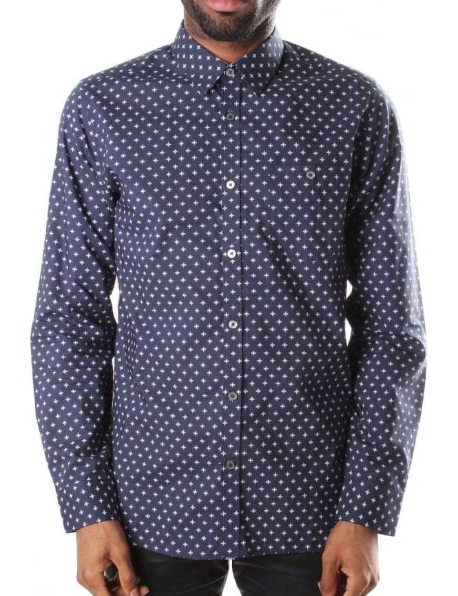 f3b72c669bd Ted Baker Long Sleeve Men s Cross Print Shirt Navy