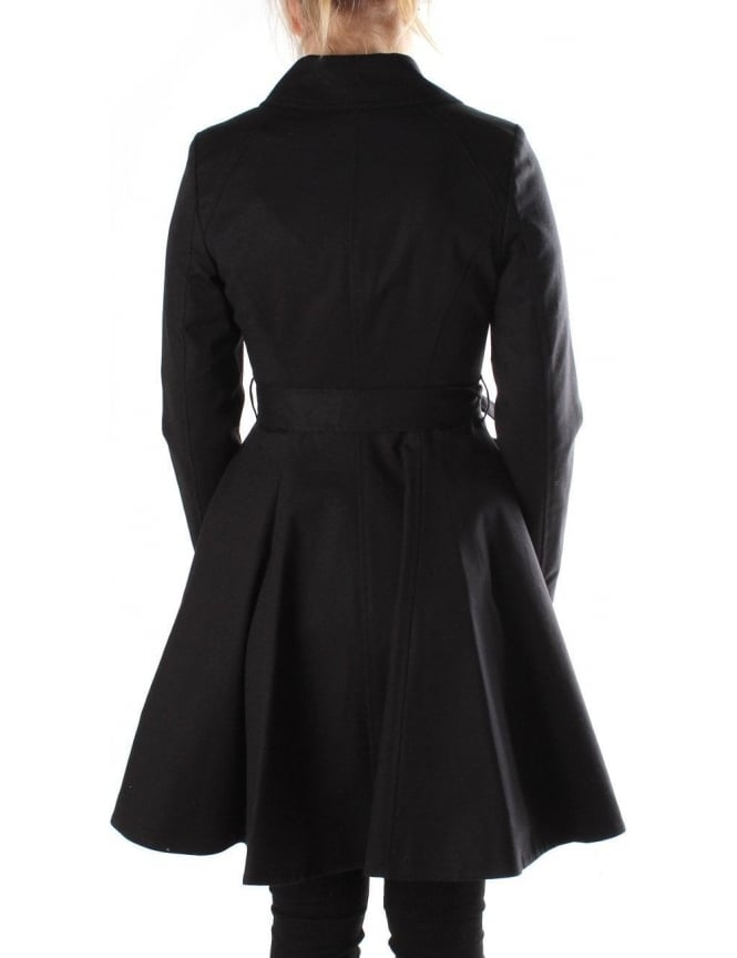 exclusive range volume large limited style Ted Baker Maquila Double Breasted Women's Flared Mac Black