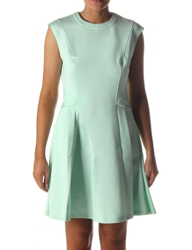 3741528a3728eb Nistee Side Pleat Women s Skater Dress Pale Green