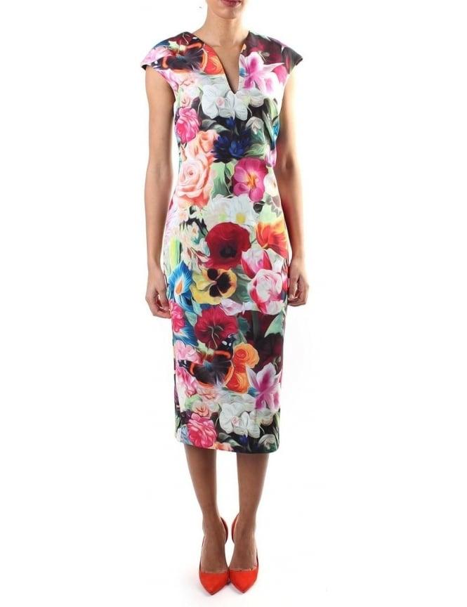 64eeacb87c6ca Ted Baker Odeela Women s Floral Swirl Print Dress Fushia
