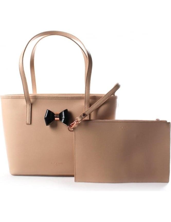 a1dd53edb Ritaa Women  039 s Bow Detail Small Crosshatch Leather Shopper Bag Taupe
