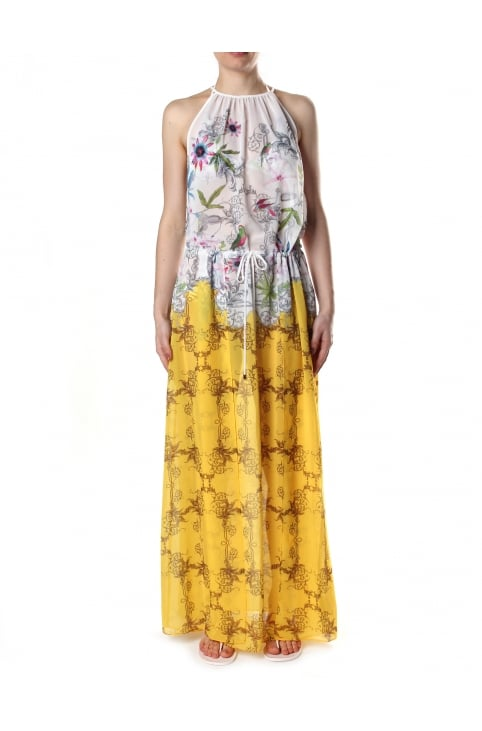 Roulis Passion Flower Women's Maxi Cover Up Yellow