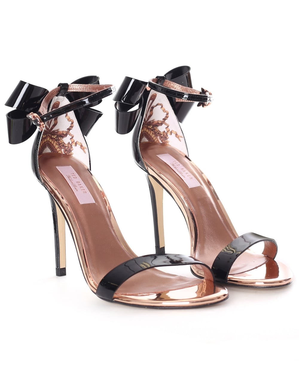 036cbca2fcbe8b Ted Baker Sandalo Patent Women s Bow Back Heeled Sandals