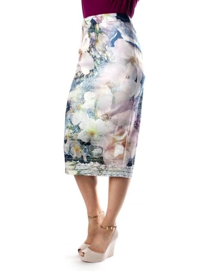 8bc9741bb Ted Baker Sinda Tile Floral Women's Midi Skirt Navy