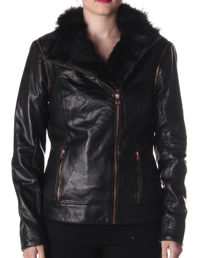 0dce5b036d7f Ted Baker Tirely Women S Leather Jacket Black. Ted Baker Junnie Faux Fur  Collar ...