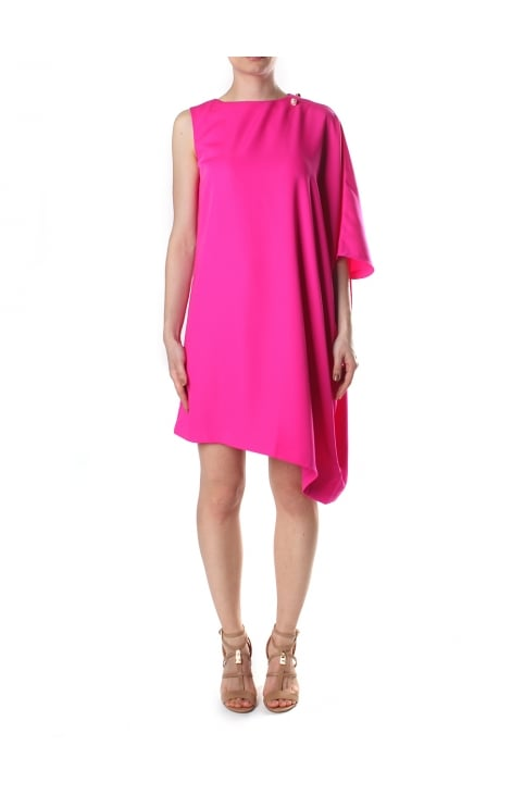 Women's Aubreey One Side Drape Tunic Dress Fuchsia