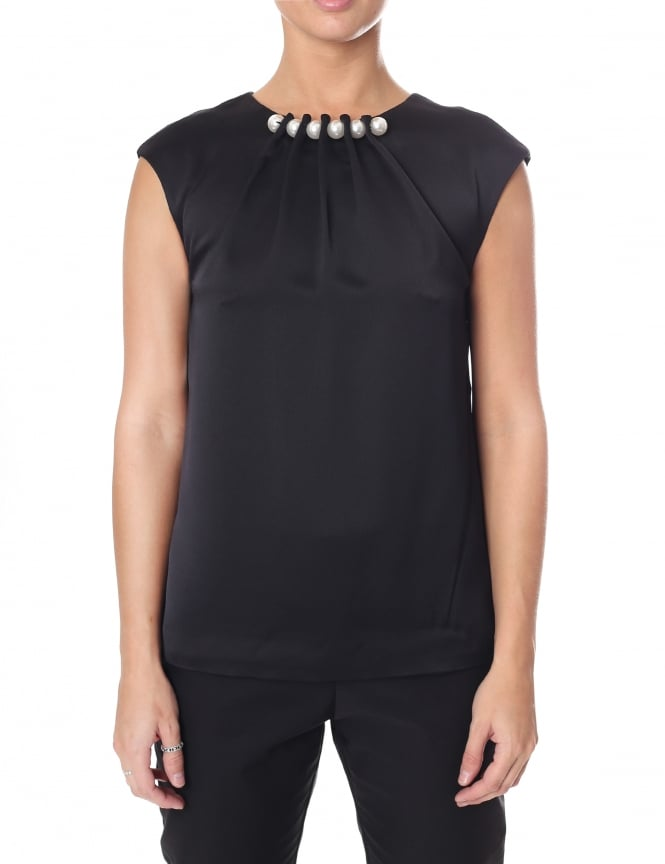 Ted Baker Women's Camble Folded Pearl Neck Sleeveless Top