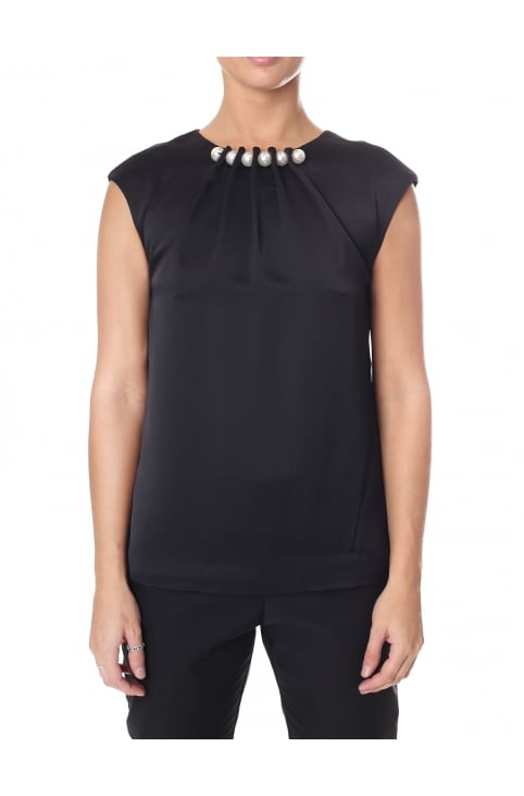 Women's Camble Folded Pearl Neck Sleeveless Top