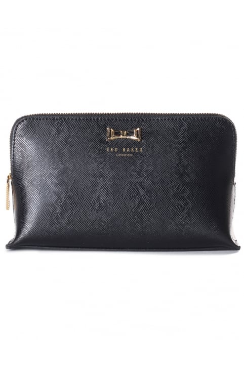 Women's Elona Geo Metal Bow Leather Small Washbag