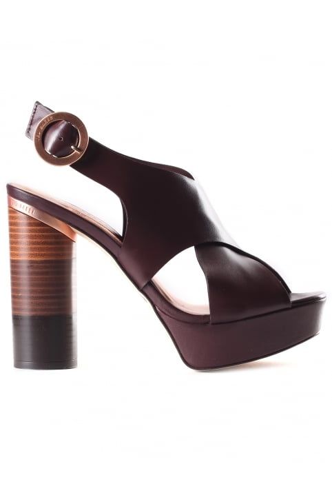 Women's Kamilla Cross Over Leather Block Heel Sandals