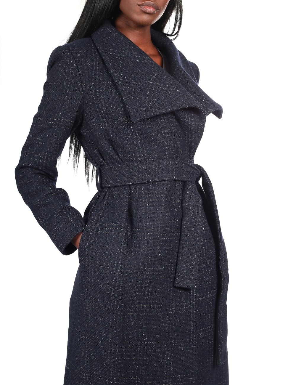 bottom price running shoes shop for genuine Women's Long Belted Check Coat