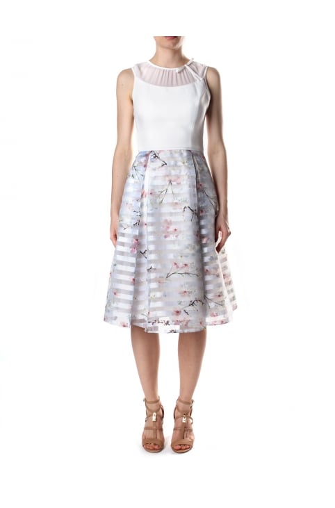 Women's Monah Oriental Blossom Contrast Dress Light Grey