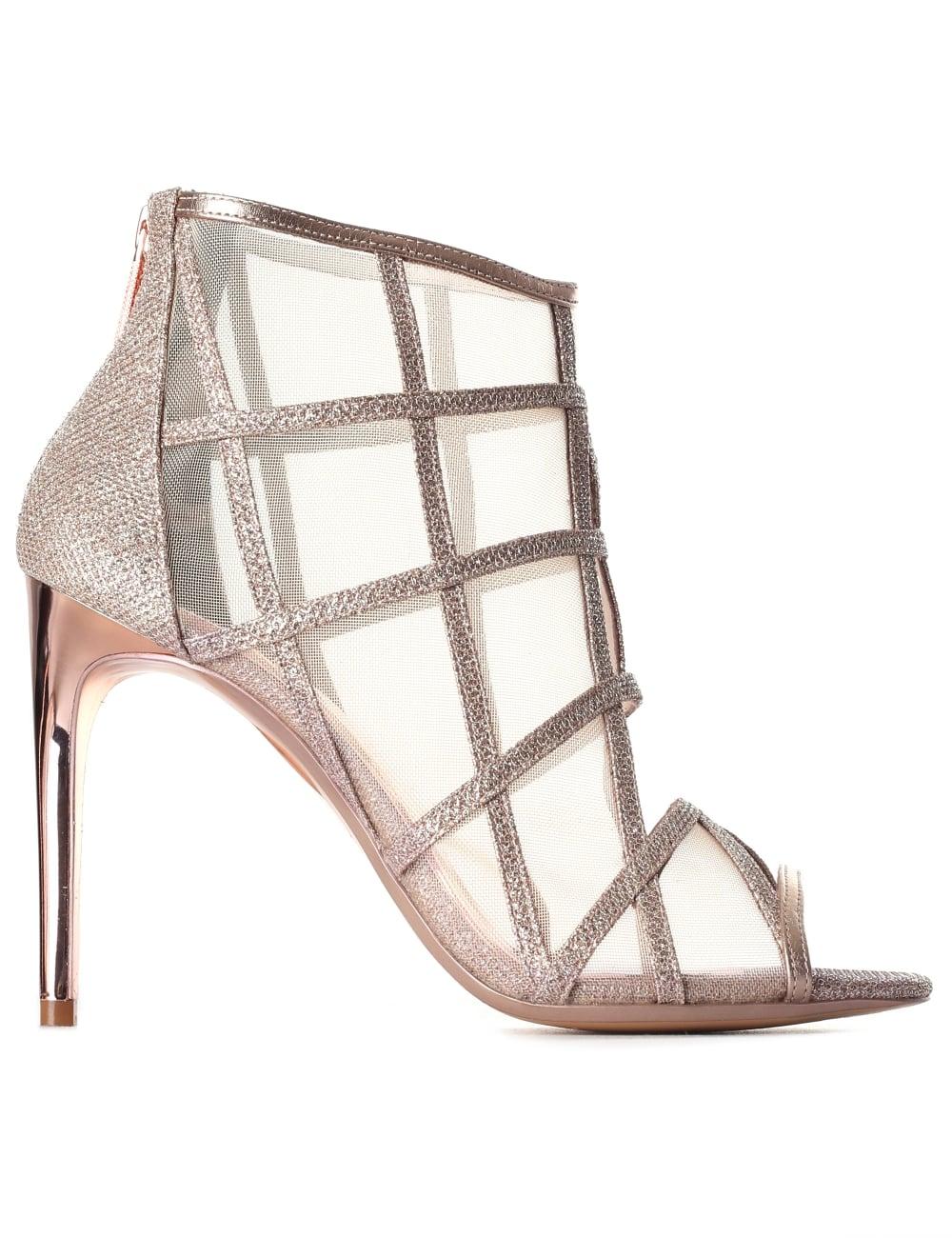 de9285bcc669 Ted Baker Women s Xstal Mesh Peep Toe Boots Rose Gold