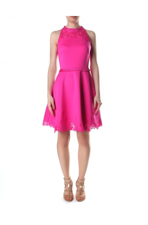 Women's Zaffron Embroidered Skater Dress Fuchsia