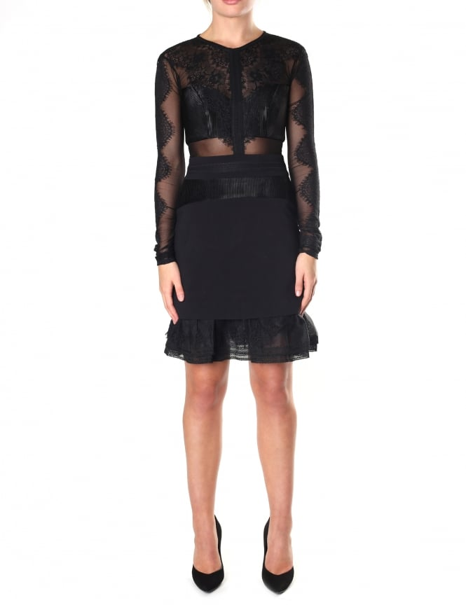 Three Floor Women's Long Sleeve Bonjour Lace Panel Dress