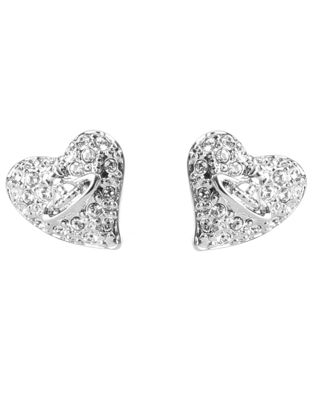 ca45bad1d Vivienne Westwood Tiny Diamante Heart Stud Earrings