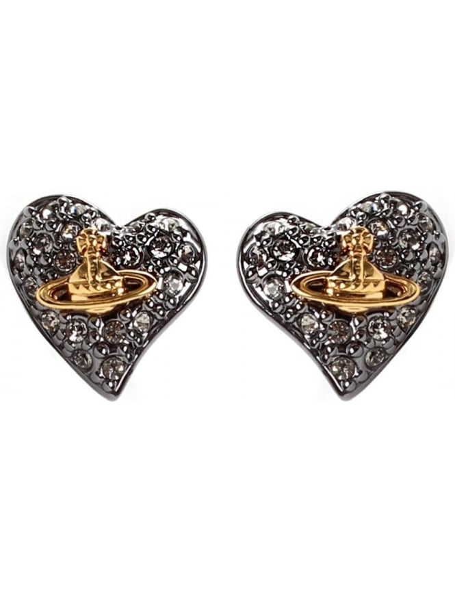 f0589580e Vivienne Westwood Tiny Diamante Women's Heart Stud Earrings ...