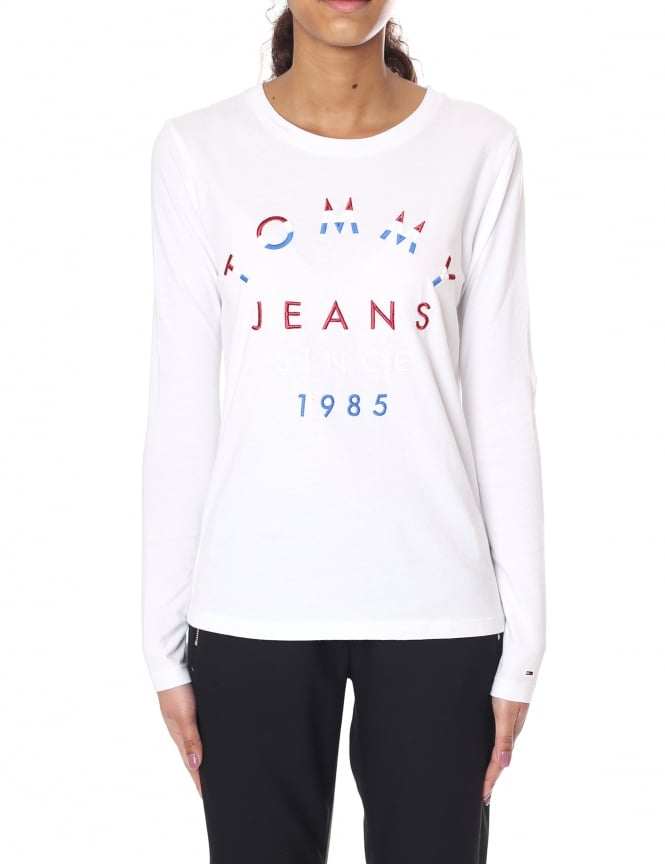 Tommy Hilfiger Embroidered Logo Women's Long Sleeve Tee