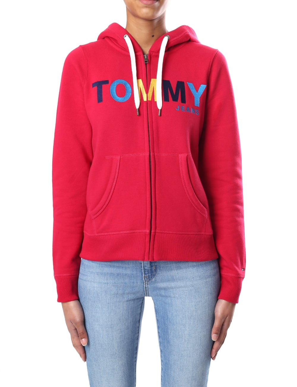 Tommy Hilfiger Logo Women s Zip Through Hooded Sweat Top 972fa1f9c8