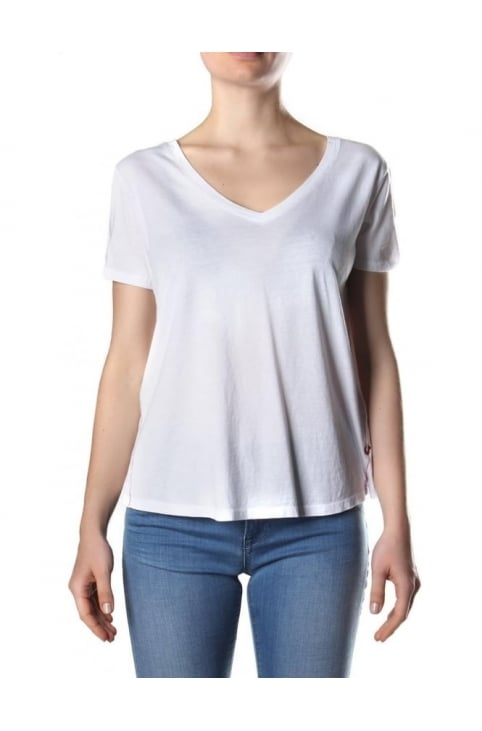 Deep V Neck Women's Cold Dyed Tee White