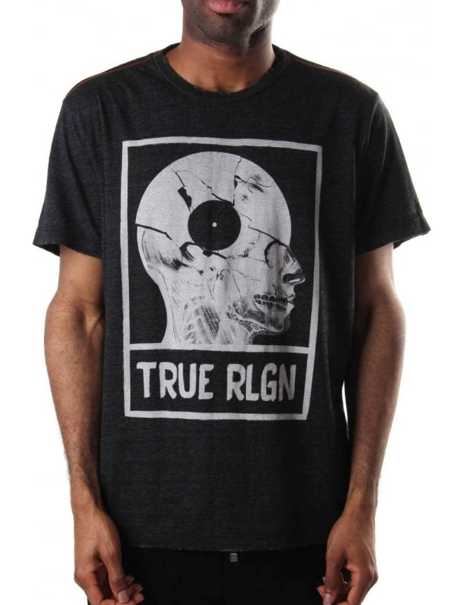 True Religion Distressed Men's Graphic Tee Black