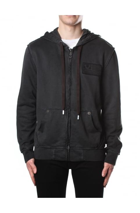 Men's Raw Edge Zip Up Hoodie