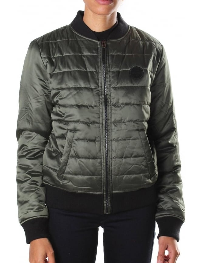 True Religion Quilted Women's Puffer Jacket Olive