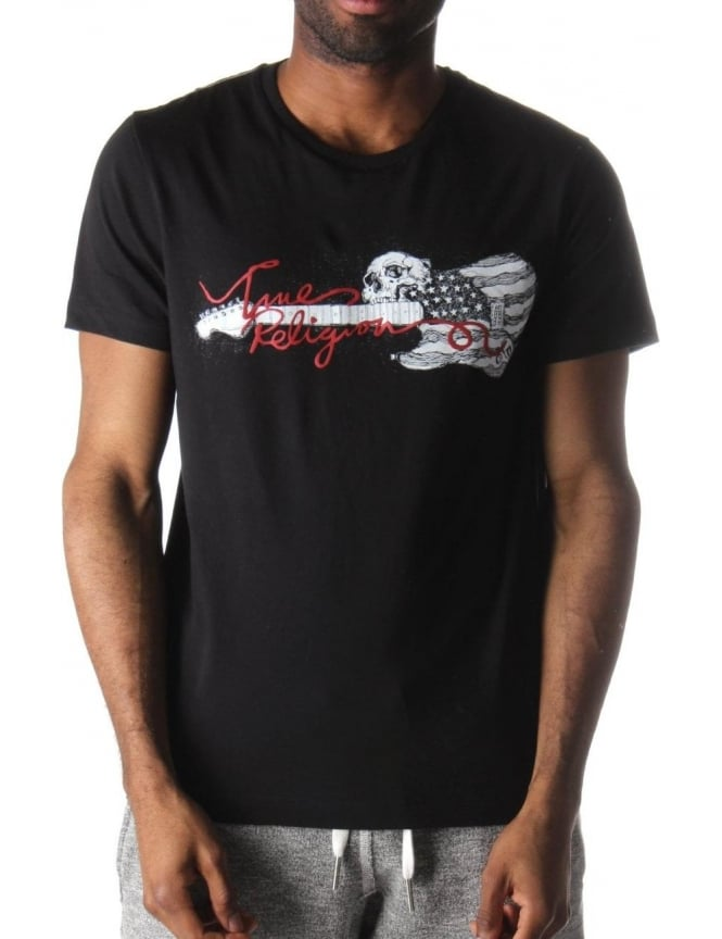 True Religion Skull Guitar Men's T-Shirt Jet Black