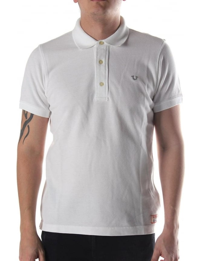 177d356cb True Religion 'U' Embroided Men's Polo Top White