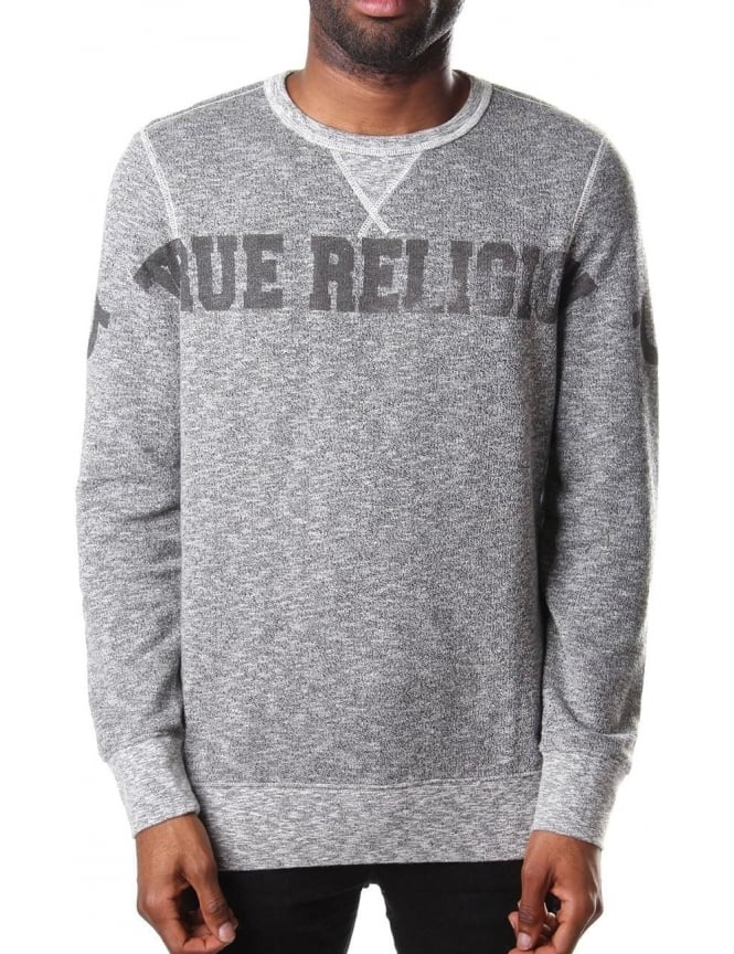 True Religion Wide Crew Neck Men's Sweat Top Dark Grey